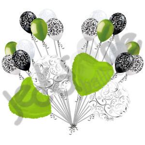 20 pc Lime Green Heart & Swirl Balloon Bouquet Wedding Bridal Shower Anniversary