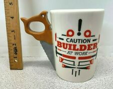 """New listing New Hand Painted """"Caution Builder At Work"""" Hand Saw Mug Cup #3Dtm-12-3932 (C15)"""