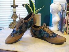 Forever 21 Lace Up Oxfords SZ 6M....Burnished Peanut Butter Brown/Multi Blue New
