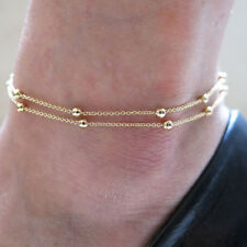 Women Gold Silver Plated Layer Anklets Foot Feet Bracelets Chain Leg Jewelry
