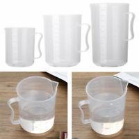 Durable 500-2000ml Measuring Jug Plastic Lab Beaker Kitchen Liquid Cup w/Handle