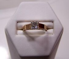 3/4 Ct. .71 EGL Certified Princess Diamond Solitaire Ring 14K Gold SI / H