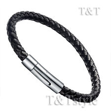 Top Quality T&T Black Leather Stainless Steel Clip-On Buckle Bangle BR92D(6)