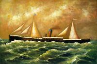 "24x36"" (61x92cm)100% hand painted oil flat,Ocean, Boat, Ship,Sea War"