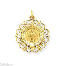 14K Yellow Gold Miraculous Mother Mary Frame Medal Charm Pendant