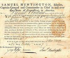 Samuel Huntington Autograph RARE Document Revolutionary War Clash Civilizations