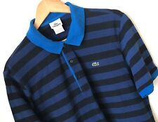 LACOSTE sz 7 Mens Blue Striped Polo Shirt