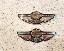 HARLEY DAVIDSON 100TH ANNIVERSARY GAS FUEL TANK CHROME EMBLEMS