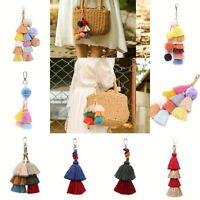 Tassel Keychain Colorful Boho Charm Key chain Ring Handbag Accessories for Women