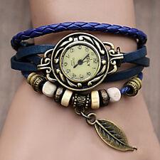 Blue Leather Retro Vintage Women Bracelet Leaf Pendant Quartz Wrist Watches Gift