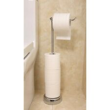 FREE STANDING TOILET PAPER HOLDER AND DISPENSER, CHROME, COMPACT