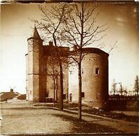 BELGIQUE Bruges Porte Sainte-Croix Moulin, Photo Stereo Vintage Plaque Verre