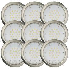 9er Set LED 2,2W Einbaustrahler Einbauleuchte Feuchtraum Warmweiß Nickel IP44