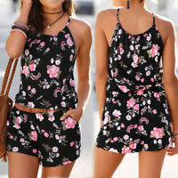 UK Womens Holiday Mini Cami Playsuit Ladies Printed Summer Shorts Jumpsuit 2pcs