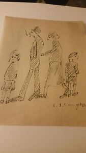 Old unframed ink drawing signed L S LOWRY 1940