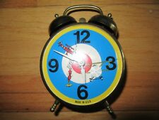 8Y/RARE LUX TWIN BELL CLOCK/GERMAN FIGHTER PLANE/ANIMATED/USA/METAL/ALARM/WORKS!