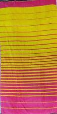 PINK YELLOW STRIPES LARGE JUMBO BEACH TOWEL 100% EGYPTIAN COTTON 90cm x 170cm