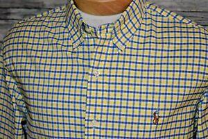 RALPH LAUREN SLIM FIT Large Men's L/S Button Down Oxford Shirt Yellow Blue Plaid
