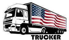 International Trucker Lorry Driver & American USA Flag car truck sticker Decal