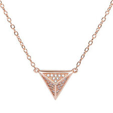 "Sterling Silver 925 Rose Gold Triangle Pyramid CZ Pendant Necklace 16"" to 18"""
