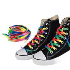 2 Paar Regenbogen Polyester Flache Schnürsenkel Sneaker Schuhe String New