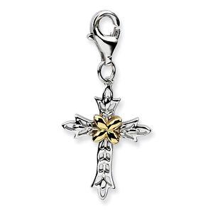 Cross Charm .925 Sterling Silver w/ 14K Gold Accent Clip On Amore La Vita