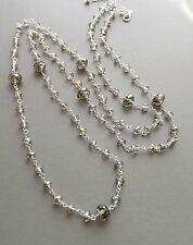 Smokey grey crystal glass long necklace . handmade silver tone flapper jewellery