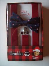 Wembley Bow Tie Suspender Set Mens Top Notch Silvertone Holiday Santa Hat NIB