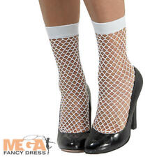 White Fishnet Socks Short Stockings Adults Ladies Fancy Dress Costume Accessory