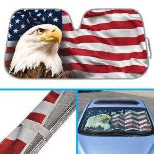 US Eagle American Flag Car Sun Shade - Reflective Folding Windshield Sunshade