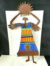 BILL FINKS 'DEL SOL' - WOMAN HOLDING SUN - SIGNED FOLK ART, METAL WALL SCULPTURE