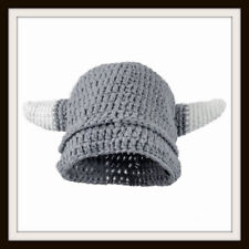 HAND KNITTED VIKING HELMET WITH HORNS ~ HAND MADE ~ ONE SIZE