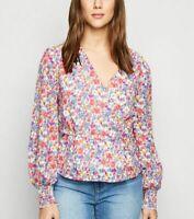 New Look Blouse Top Size 10 & 12 Vintage Floral Peplum Wrap Top Love Sleeve EZ30