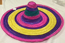 Adult Mens Womens  Mexican Sombrero Hat Rainbow Colourful Spanish Party Dress Up