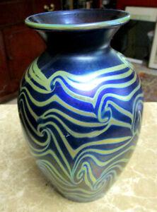 1974 Lundberg Art Glass Iridescent King Tut Vase