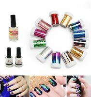 12 Colors Nail Art Transfer Foil Sticker & Glue Set for Nail Tips Decor Manicure