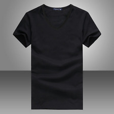 Men's V Neck Round Neck cotton T-shirt Slim Fit Short Sleeve Solid Color Casual