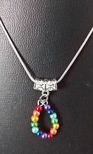 "RAINBOW GLASS PEARL PENDANT ON 16"" SILVER PLATED CHAIN WITH LOBSTER CLASP"