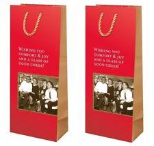 Set of 2 Retro Christmas Wine Bottle Gift Bags Shannon Martin Black & White 60s