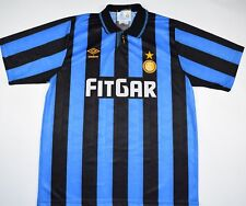 1991-1992 INTER MILAN UMBRO HOME FOOTBALL SHIRT (SIZE L)