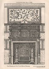 1881 ANTIQUE ARCHITECTURAL PRINT-YORKSHIRE-OAK FIREPLACE,OLD COCK HOTEL, HALIFAX