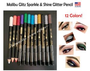 12 Colors Glitter Pencil Eyeliners- Malibu Glitz Sparkle & Shine Pencil Eyeliner