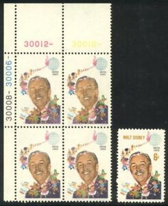 U.S. #1355a RARE Plate Block - 1968 6c Disney, Ocher Omitted