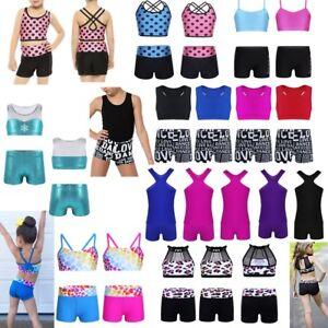 2pcs Girls Gymnastics Ballet Dance Outfit Tank Tops+Shorts Set Kids Swimsuit