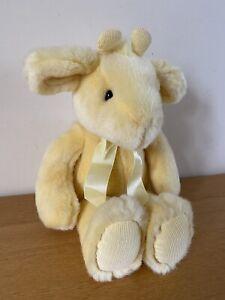 "Russ Berrie Jellybean Yellow Soft Toy Plush Bear Bunny Soft Fur 15"" Long"