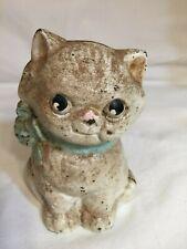 Vintage Grace Drayton 1930's Cast Iron Hubley Cat Still Coin Bank BLUE BOW NICE