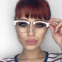 MENS LARGE Clubmaster Wayfarer Style Glasses Clear Lens Half Frame Retro Nerd
