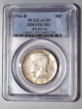 1964-D Kennedy Silver Half Dollar DDO FS-101 (FS-013.4)  PCGS AU55   1339