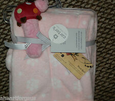 CARTERS COZY BABY BLANKET W/ LADYBUG RATTLE TOY PINK PLUSH SOFT GIRL FLOWERS NEW