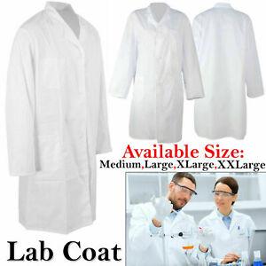Unisex White Doctors Coat Medical Lab Industry Overall Pocket Nursing Jackets UK